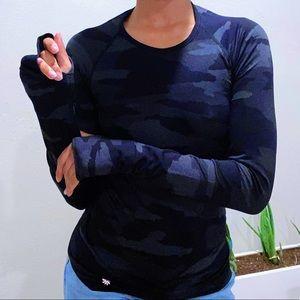 Camo Print Athleta Workout Long Sleeve Top